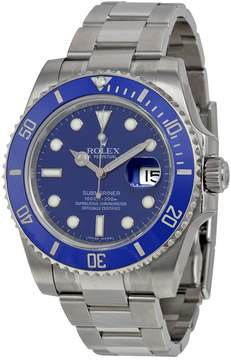 Rolex Submariner Date Blue Dial 18K White Gold Oyster Bracelet Automatic Men's Watch 116619BLSO