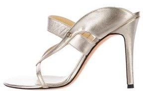 Versace Metallic Leather Slide Sandals