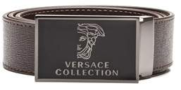 Versace Men's Medusa Head Saffiano Leather Belt Brown Steel.