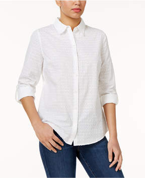 Charter Club Textured Windowpane Shirt, Created for Macy's