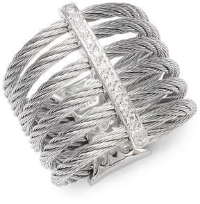 Alor Women's Cable 18K White Gold & Diamond Midi Ring