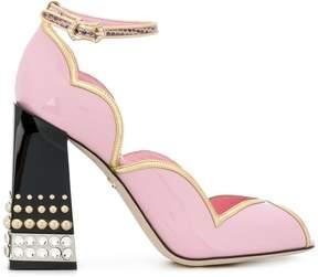Dolce & Gabbana Peep Toe D'Orsay pumps with jewel heel