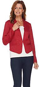 C. Wonder Long Sleeve Knit Tweed Cropped Notch Collar Blazer