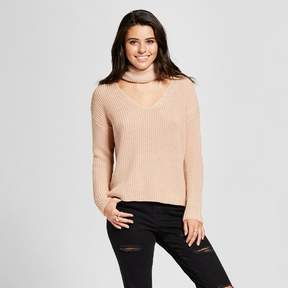 Almost Famous Women's Shaker Stitch Cowl Cut Out Sweater Juniors')