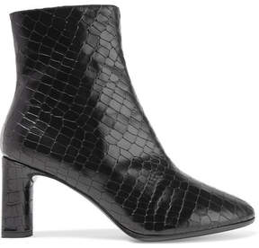 Robert Clergerie Elte Snake-effect Glossed-leather Ankle Boots - Black