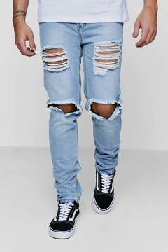 boohoo Skinny Fit Vintage Wash Rigid Jeans with Open Rips