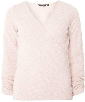 Dorothy Perkins Pink Ruched Sleeve Wrap Top