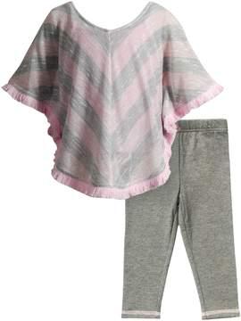Youngland Poncho Tunic & Knit Leggings Set