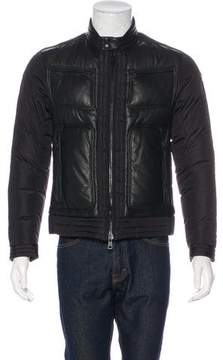 Moncler Allemand Leather-Trimmed Down Jacket