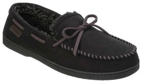 Dearfoams Men's MFS Moccasin Slipper with Tie and Whipstitch