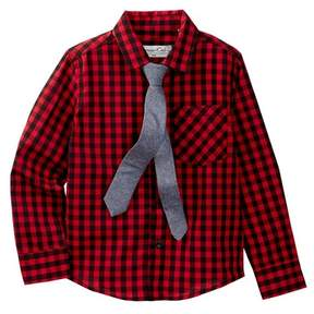 Sovereign Code Buffalo Check Shirt & Tie Set (Toddler & Little Boys)