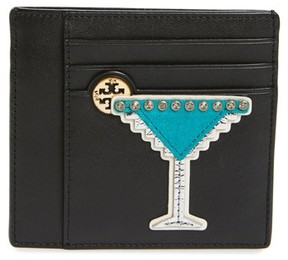 Tory Burch Women's Martini Applique Leather Card Case - Black - BLACK - STYLE