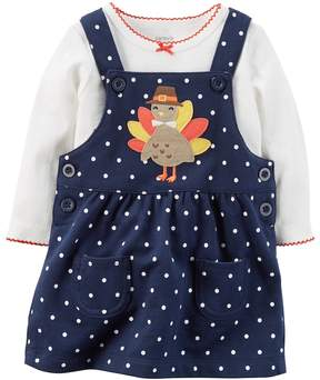 Carter's Baby Girl Turkey Applique French Terry Thanksgiving Jumper & Bodysuit Set