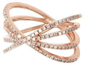 Ef Collection 14K Rose Gold Pave Diamond Sunburst Ring - Size 3 - 0.04 ctw