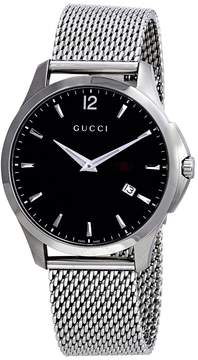 Gucci G Timeless Black Dial Stainless Steel Mesh Men's Watch