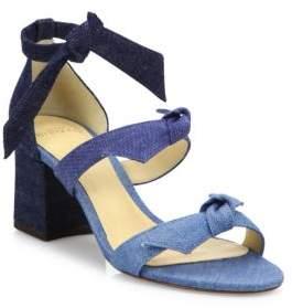 Alexandre Birman Mary Bow Colorblock Denim Block Heel Sandals