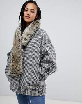 Asos Faux Fur Natural Long Scarf
