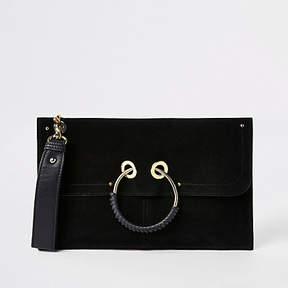 River Island Black leather hoop front pouch clutch bag