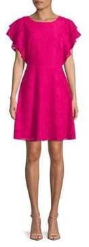 Isaac Mizrahi IMNYC Ruffle-Sleeve Bateau Neck Fit and Flare Dress