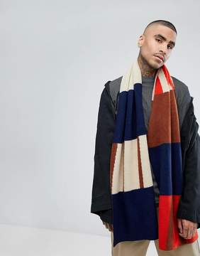 Asos Scarf In Navy Abstract Design