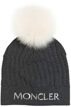 Moncler Logo Print Wool Knit Hat W/ Fur Pompom