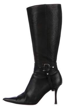 Christian Dior Leather Embellished Knee-High Boots