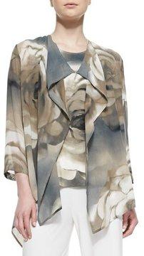 Caroline Rose Draped Watercolor Rose-Print Jacket