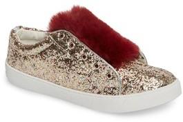 Sam Edelman Girl's Britt Rita Faux Fur Glitter Sneaker