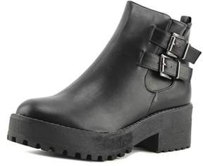 Coolway Bashita Women Round Toe Synthetic Black Combat Boot.