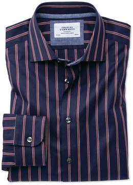 Charles Tyrwhitt Slim Fit Semi-Spread Collar Business Casual Boating Navy and Red Stripe Cotton Dress Shirt Single Cuff Size 15/33