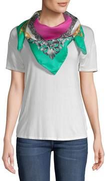 Versace Women's Carre Intricate Foulard Silk Scarf - Fuxia-green