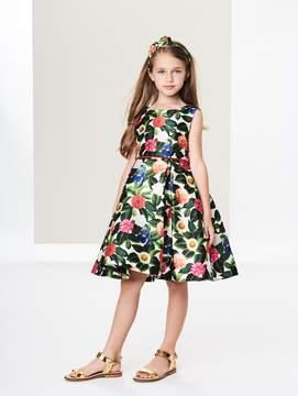Oscar de la Renta Flower Jungle Mikado Pleated Dress