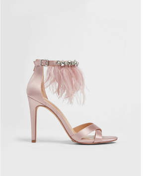 Express feather and rhinestone satin heeled sandals