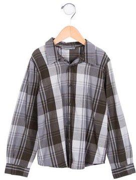 Bonpoint Boys' Plaid Print Button-Up Shirt