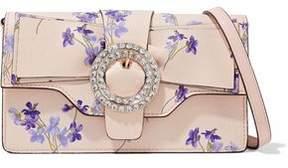 RED Valentino Crystal-Embellished Floral-Print Leather Shoulder Bag