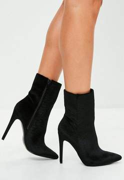 Missguided Black Stiletto Heel Pointed Ankle Boots