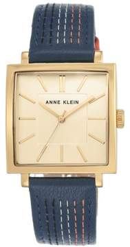Anne Klein Goldtone Square Dial Blue Leather Strap Watch