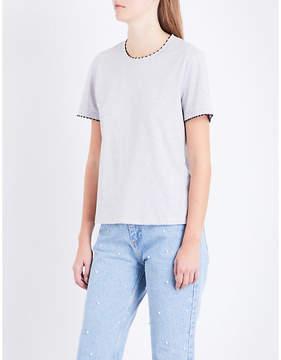 Claudie Pierlot Embroidered-trim cotton T-shirt