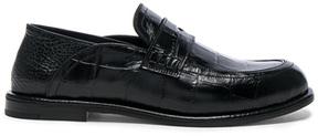 Loewe Croc Embossed Slip On Loafers in Black,Animal Print.