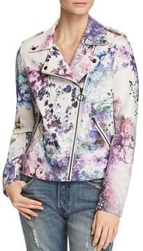 Bagatelle Watercolor Floral Faux Leather Moto Jacket
