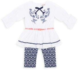 Little Lass Little Girl's Two-Piece Embroidered Top and Floral Capri Pants Set