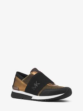 Michael Kors Metallic And Canvas Logo Sneaker