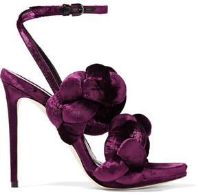 Marco De Vincenzo Braided Velvet Sandals - Grape