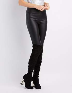 Charlotte Russe Metallic Heel Over-The-Knee Boots