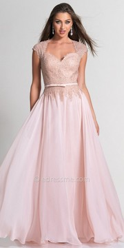 Dave and Johnny Sweetheart Embellished Bow Waist Princess Evening Dress