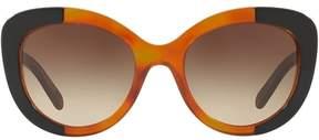 Burberry Brown Gradient Round Ladies Sunglasses