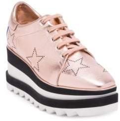Stella McCartney Elyse Rose Gold Star Sneaker Wedges