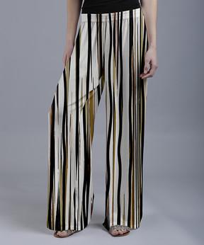 Lily White Stripe Palazzo Pants - Women & Plus