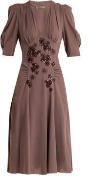 Bottega Veneta Embellished V-neck silk-georgette dress