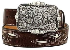 Ariat A1525002-XL 1.5 in. Womens Underlay Contrast Stitching Belt, Brown - Extra Large